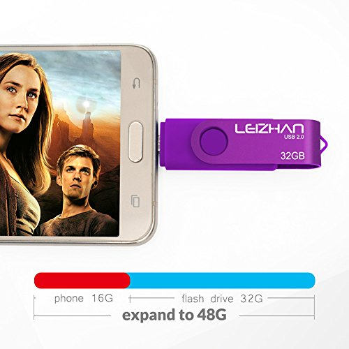LEIZHAN 32GB OTG USB Flash Drive Purple USB 2.0 Pen Drive Gift Suitable For Android Smart Phone System 4.5 Above by leizhan (Image #3)