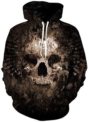 (Mens Fleece Hoooded Sweatshirt 3D Digital Print Cool Novelty Warm Cowl Neck Long Sleeve Women's Pullover Sweater Front Big Kanga Pockets Realistic Ugly Dead Skulls Graphic Crazy Teen Boys Partywear)