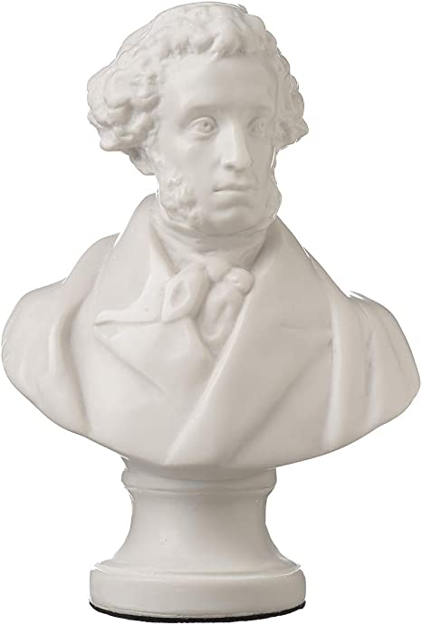 danila-souvenirs Russian Poet//Writer Alexander Pushkin Marble Bust Statue Sculpture 8.4 White