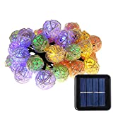 LUCKLED Solar String Lights, 20ft 30 LED Multi Color Rattan Globe String Lights Decorative Lighting for Outdoor, Home, Garden, Patio, Party and Holiday