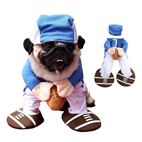Youbedo Football Dog Costume Halloween Funny Rugby Player Suit Cosplay Costume for Pet Party Apparel ()