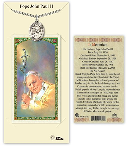 Ii Pope Medals John Paul (Pewter Blessed Pope John Paul II Medal with Laminated Holy Prayer Card)