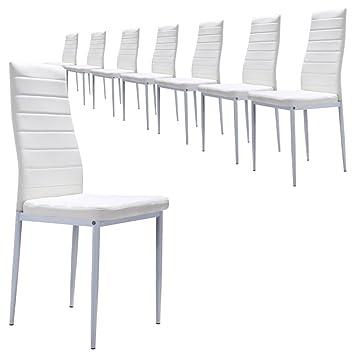 Set di 8 sedie design bianche: Amazon.it: Casa e cucina