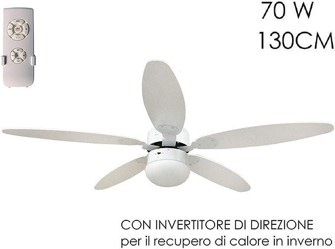 Ventilador de techo Diámetro 130 cm 5 Aspas con mando a distancia ...