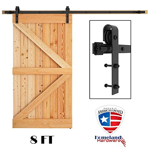Homeland Hardware 8 FT Heavy Duty Sliding Barn Door Hardware Kit, Single Rail, Heavy Duty, Smooth, Fit 42 - 52 Inch Wide Door Panel