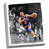 John Starks Autographed Dribbling Around Hakeem Olajuwon 22 inch x 26 inch Tretched Canvas with 10829 Career Points 21129 Career Rebounds 3085 Career Assists 1994 NBA National Basketball Association All Star 1997 NBA National Basketball Association 6th Ma