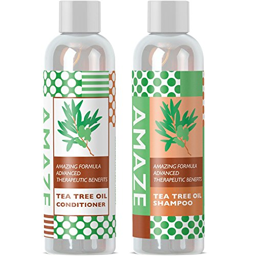 Beauty : Pure Tea Tree Oil Shampoo and Conditioner Set Herbal Sulfate Free Daily Anti Dandruff Shampoo for Dry Hair and Scalp Essential Oil Formula Helps Prevent Hair Fall and Lice Gentle on Color Treated Hair
