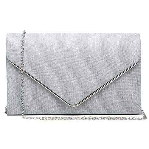 Women Glistening Clutches Handbags Evening Bags Wedding Purses Cocktail Prom Party Clutches (Silver)