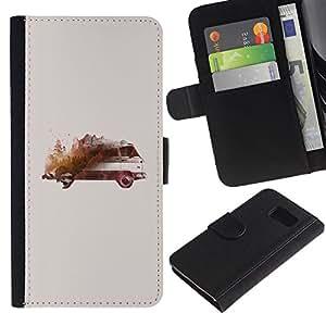 All Phone Most Case / Oferta Especial Cáscara Funda de cuero Monedero Cubierta de proteccion Caso / Wallet Case for Sony Xperia Z3 Compact // Bus Art Watercolor Painting
