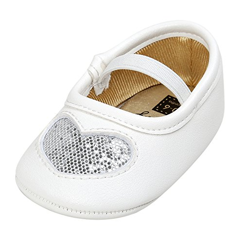 Elaco Baby Girl Princess Heart Sequins Shoes Sneaker Anti-slip Soft Sole Toddler Casual Shoes (6~12 Month, Silver) Heart Sole Sneakers