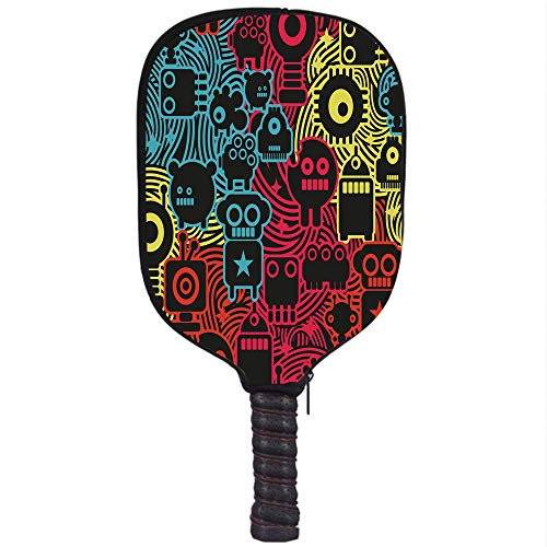Amazon.com : iPrint Neoprene Pickleball Paddle Racket Cover Case, Modern, Cute Digital Monsters and Robots Animals Futuristic Kids Caricature Illustration, ...