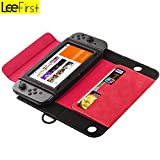LeeFirst Nintendo Switch Case,Premium Leather Stand Flip Wallet Carrying Cover Case Nintendo Switch Card Slot Magnetic Closure (Red)