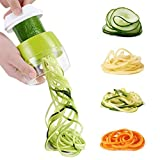 MengK 3-Blade Spiral Slicer Handheld Spiralizer Green Switchable, Cutting Mode Three-Knife Hand-Held Flip Vegetable Slice Screw Machine Includes a Stainless Steel Blade and Two Sets of knife