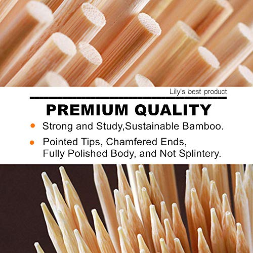 """HOPELF 10"""" Natural Bamboo Skewers for BBQ,Appetiser,Fruit,Cocktail,Kabob,Chocolate Fountain,Grilling,Barbecue,Kitchen,Crafting and Party. Φ=4mm, More Size Choices 6""""/8""""/12""""/14""""/16""""/30""""(100 PCS)"""