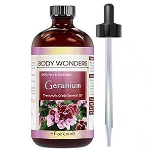 Body Wonders 100% Pure Geranium Essential Oil, Therapeutic Grade 4 Fl Oz