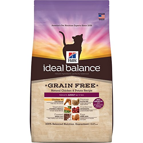 Hill's Ideal Balance Adult Grain Free Cat Food, Natural Chicken & Potato Recipe Dry Cat Food, 11 lb Bag