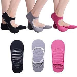 Niome Yoga Barre Socks Grippy Non Slip Skid Cotton Socks for Barre Pilates Ballet, 3 Pairs