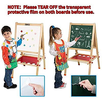 Arkmiido Kids Easel Double-Sided Whiteboard & Chalkboard Standing Easel with Bonus Magnetics, Numbers and Other Accessories for Kids and Tollders (48.8 inch): Home & Kitchen