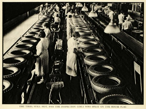 1936 Print Goodyear Tire Rubber Automobile Parts Akron Ohio Inspection Rittase - Original Halftone Print by...