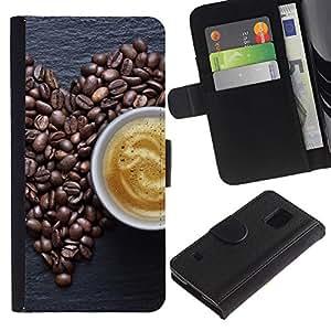 EJOY---Tirón de la caja Cartera de cuero con ranuras para tarjetas / Samsung Galaxy S5 V SM-G900 / --Coffe Amor