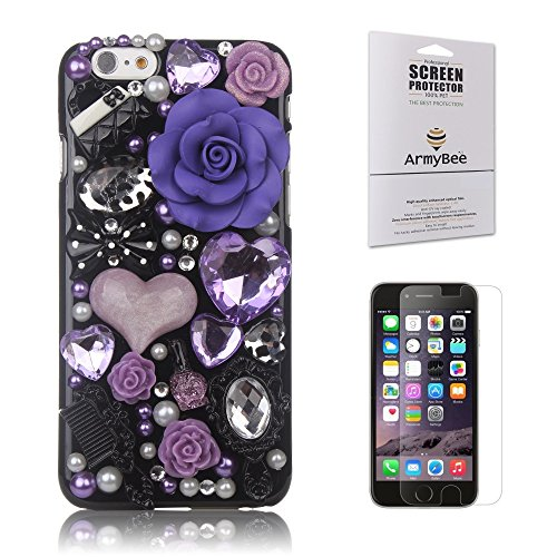 iPhone 6/6s Case Fairy-Tale Series, Armybee(TM) Bling Rhinestone iPhone 6/6s [4.7] Case Pearl Crystal Diamond Love Flowers Design - 3D Bling Case Cover