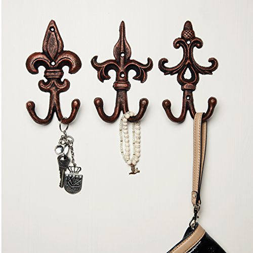 SET OF 3 - Cast Iron Fleur De Lis Double Wall Hooks / Hangers - Decorative Cooper Wall Mounted Coat Hook - Rustic Cast Iron - With Screws And Anchors by (Double Wall Hook)