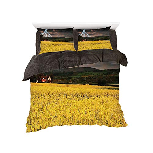 Dash Storm Cover - All Season Flannel Bedding Duvet Covers Sets for Girl Boy Kids 4-Piece Full for bed width 4ft Pattern by,Lake House Decor,Thunderstorm over the Meadow Valley with Scary Dark Sky Rural Farm Scenery,Yel