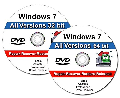 Windows 7 All-in-One All Versions 32/64-Bit Install Boot Recovery Restore DVD DISC Perfect for Install or...