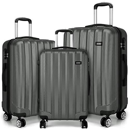 Kono Lightweight 4 Wheel Spinner ABS Hard Shell 3 Piece Suitcase Luggage Set Cabin 20″ Medium 24″ Large 28″