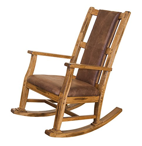 Sunny Designs 1935RO-2 Sedona Rocker with T-Fabric Seat and Back, Rustic Oak Finish
