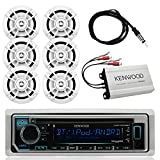 "Kenwood Marine Outdoor Bluetooth Stereo CD MP3 Player USB iPhone Pandora AM/FM Receiver, 6 X Kenwood 6.5"" Waterproof Speakers, Kenwood Compact 4-Channel Amplifier, Enrock Antenna - Marine Audio Kit"