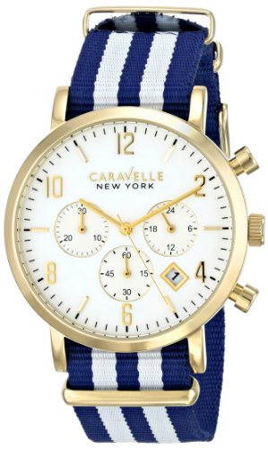 Caravelle New York Men's 44B107 Gold-Tone Stainless Steel Watch with Blue and White Nylon Band - Caravelle Blue Watch