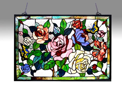 Victorian Panels Glass Stained (Chloe Lighting Roses Design Glass Panel)