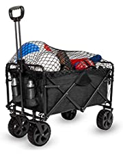 MacSports XL Heavy Duty Collapsible Outdoor Folding Wagon Camping Gear Grocery Cart Portable Lightweight Utility Cart Adjustable Rolling Cart All Terrain Sports Wagon Beach Wagon with Cargo Net