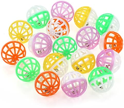 Chiwava 48PCS 1.6'' Cat Toy Ball with Bell Plastic Lattice Jingle Balls Kitten Chase Pounce Rattle Toy Assorted Color