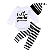 Honganda 3Pcs Infant Newborn Baby Boy Girl Hello World Romper+Striped Pants With Hat Outfit Sets (White+Black, 0-6 Months)
