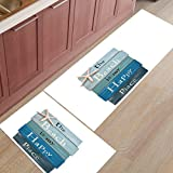 Kitchen Rug Mat Set of 2 Piece Beach Lover Wood Board Road Sign Inside Outside Entrance Rugs Runner Rug Home Decor,19.7x31.5in+19.7x63in
