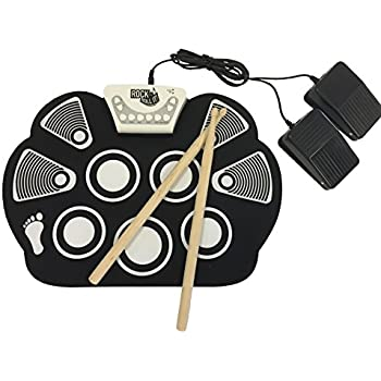 MukikiM Rock And Roll It - Drum. Flexible, Completely Portable, battery OR USB powered, 2 Drum Sticks + Bass Drum & Hi hat pedal included!