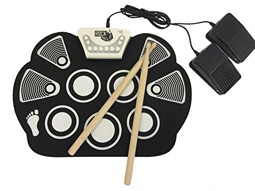 Free Rock And Roll It - Drum Flexible, Completely Portable, battery OR USB powered, 2 Drum Sticks + Bass Drum & Hi hat pedal included!