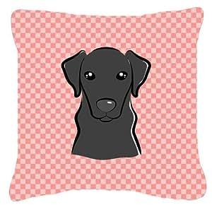 Tablero de ajedrez color rosa Labrador negro tela de lona almohada decorativa–BB1235PW1414
