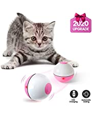 IOKHEIRA Cat Toys Ball, 2020 Newest Version Wicked Ball, Smart Interactive Cat Ball, 360° Self-Rotating & USB Rechargeable Pet Toy with Built-in LED Light, The Best Fun Kitten (White & Pink)