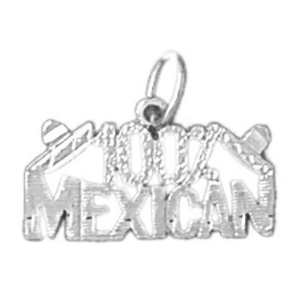 Jewels Obsession 100/% Mexican Charm Pendant 14K White Gold 100/% Mexican Pendant 13 mm