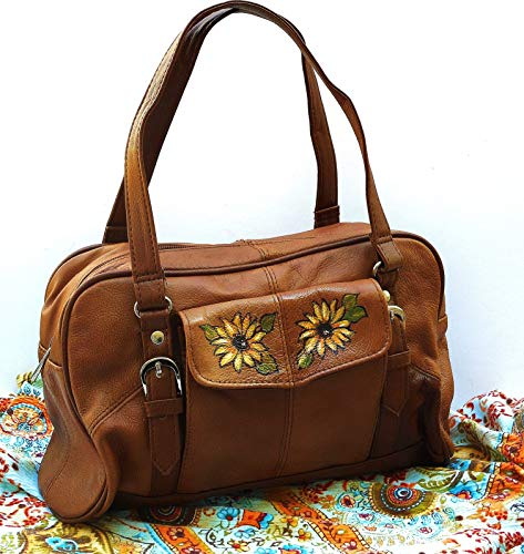 Hand Painted Sunflowers Casual Two Tone Small Brown Leather Satchel Handbag Boho Bag for Women
