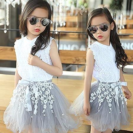 Conjunto de ropa para niñas de 3 – 12 años, para adolescentes, verano, disfraz de chica, ropa de algodón, encaje, camisa, encaje, blusa, flor, faldas tutú: Amazon.es: Hogar