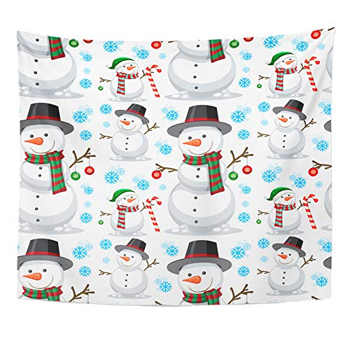 yester Fabric Print Home Decor Candy Christmas Snowman Cane Cartoon Celebration Wall Hanging Tapestry for Living Room Bedroom Dorm 50x60 Inches ()
