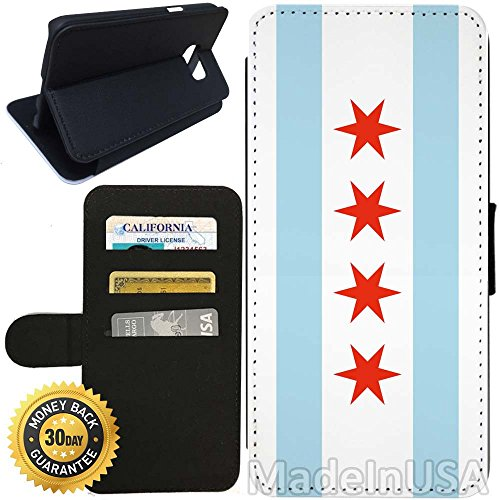 Flip Wallet Case for Galaxy S7 (Chicago Flag) with Adjustable Stand and 3 Card Holders | Shock Protection | Lightweight | Includes Stylus Pen by - Chicago Target Stores