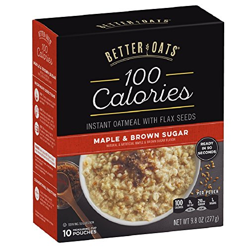 Better Oats 100 Calories Maple & Brown Sugar Instant Oatmeal with Flax Seeds,10 Pouch Boxes (Pack of 6)