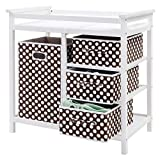 Costzon Baby Changing Table, Diaper Storage Nursery Station with Hamper and 3 Baskets (White+Brown)