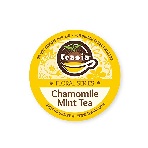 Teasia All Natural Chamomile Mint Tea (Caffeine-free), Floral Series, 12-count 2.0 COMPATIBLE K-Cup Hot Tea Iced Tea Capsules Tea Pods for Keurig (Chamomile Caffeine Free Tea)