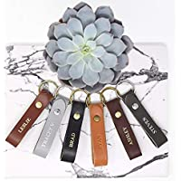 Custom Leather Keychain | Any Name — Great Gift for Men or Women | Many Colors & Styles | Hand-Made in MN, USA | Free Shipping